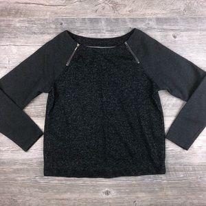 LOFT Black & Grey Shimmer Knit Pullover Size Small